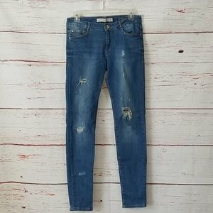 ZARA // distressed premium denim vintage 70s blue